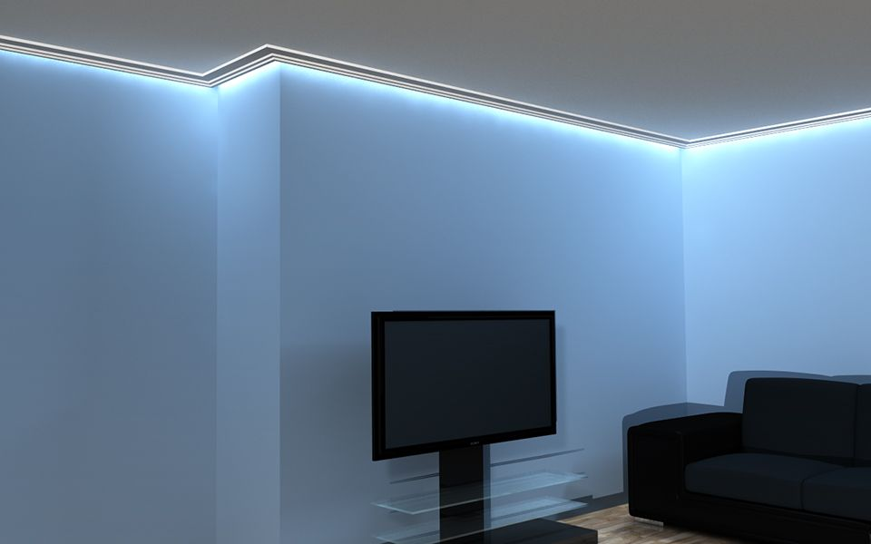 Cornice in polistirolo con incasso per luce al led per for Led per interni